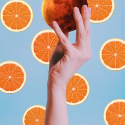 orange blue mars planet hand freetoedit