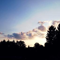 nature clouds trees sunset sundown