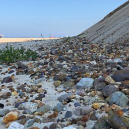 beach rocks cliffs umbrella freetoedit