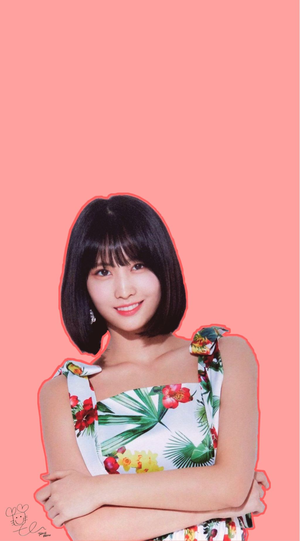 Twice Momo Twicemomo Kpop Wallpaper Simple Pink