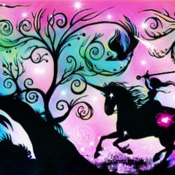 freetoedit fantasyart castle unicorn knight