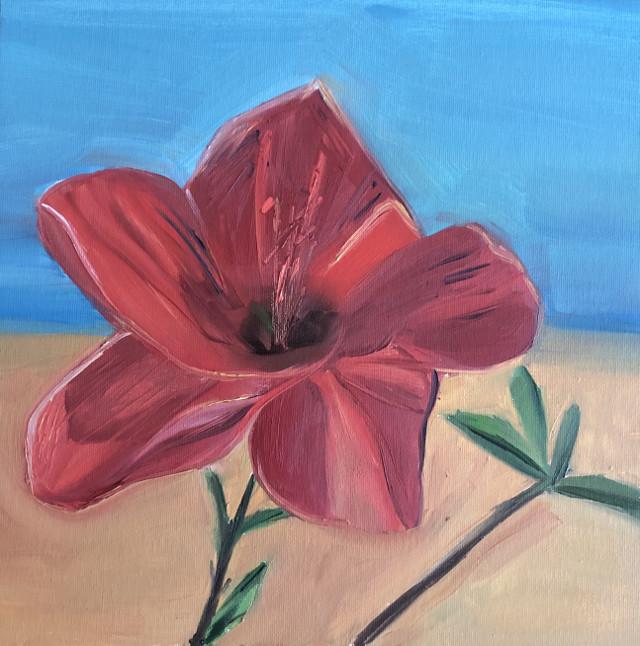 #oilpainting #nature #floral #flower #red #summer #sky #blue #send