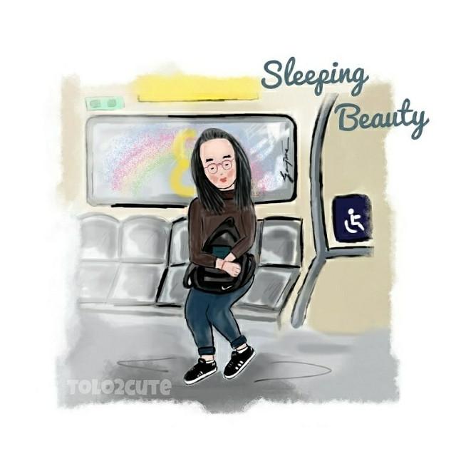 -Sleeping Beauty-  #drawing #sketch #train #girl #art #artist #scribble  #freetoedit #digitalart #cute #chibi #kawaii #kawaiigirls #colours #metro #beauty #scribblesketch