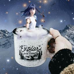 freetoedit ircenchantingportrait portrait galaxy mug
