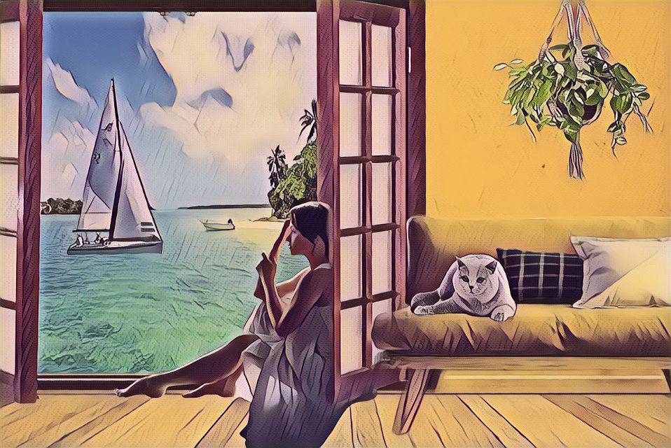 #freetoedit  #ircsailboatonthesea #sailboatonthesea #view #cat #sitting #couch #porchdoor #water