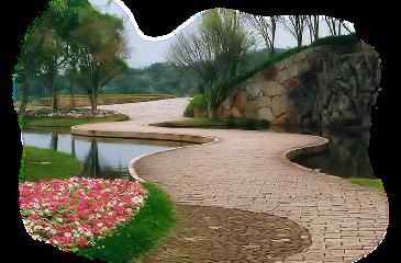 park garden pathway foreground background