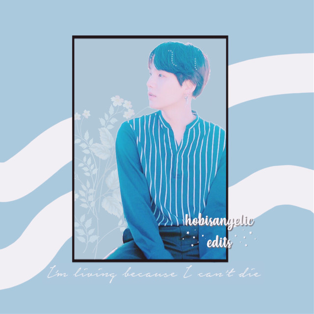 Hello my little feathers💍  -Requests are: closed-  Contest Entry for: @eliswizy ('; hope you likey  IB: @park_mochii  [tags] #elistalentcontest #yoongi #sofaraway #blue #aesthetic #frame #stars #white #line #die #living #flowers #lyrics #bts #music #contest #black #freetoedit