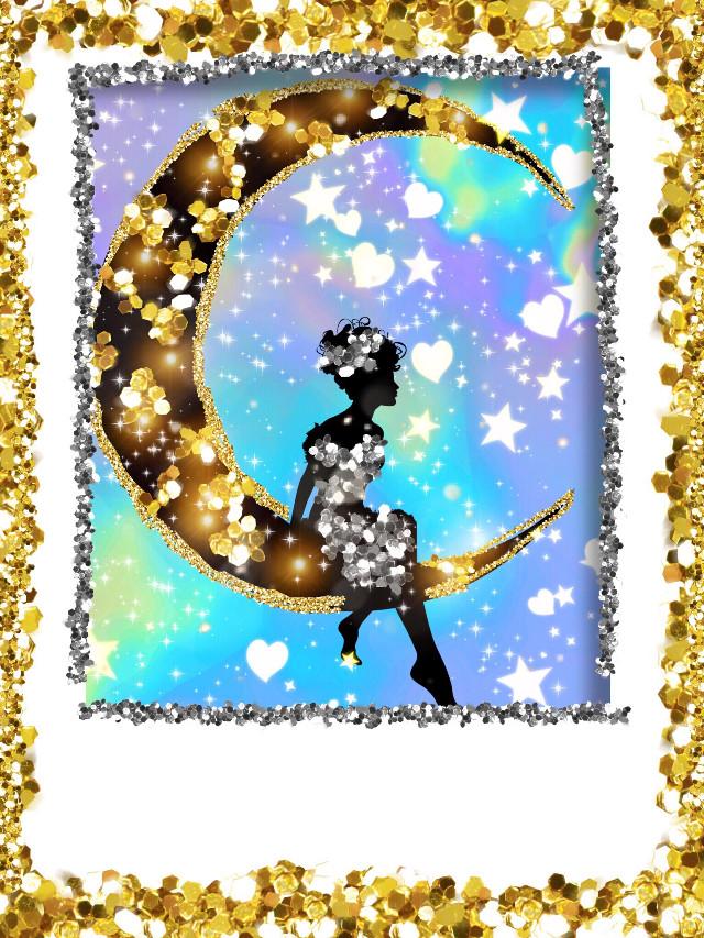 #freetoedit #goldglitterbrush #magicbrushes #moon #tinkerbell #glitter