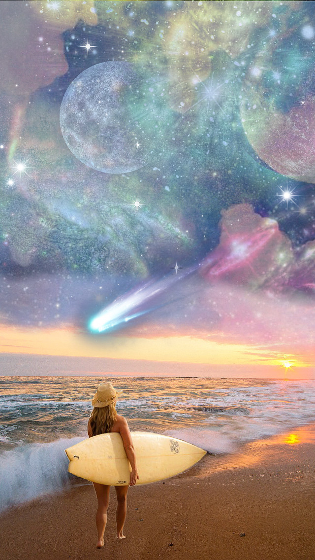 #freetoedit A cosmic sky at the beach ☺️