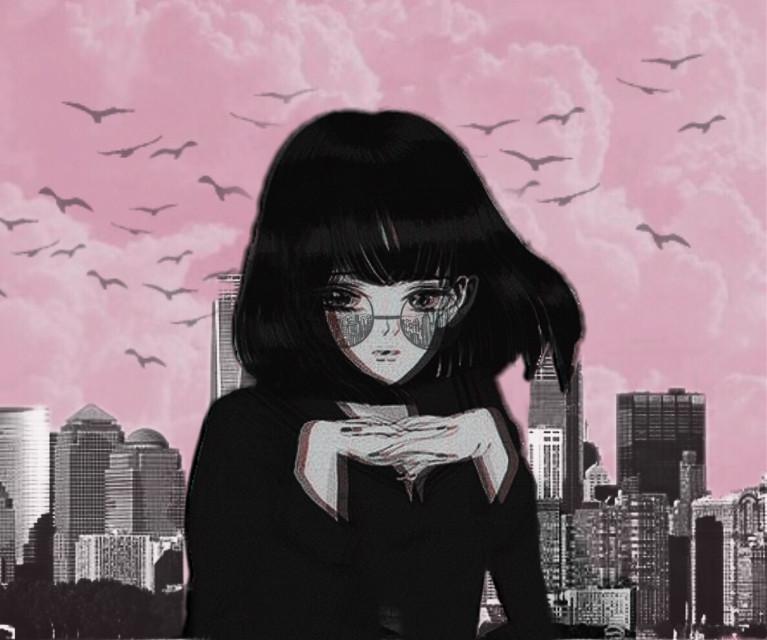 #freetoedit  #blackandwhite #anime #aesthetic #city