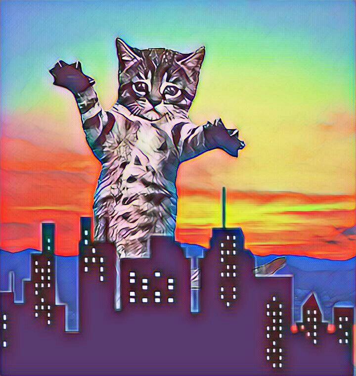 #freetoedit #GiantAnimals #gato #paisaje #edificios #cat  #colors #colores