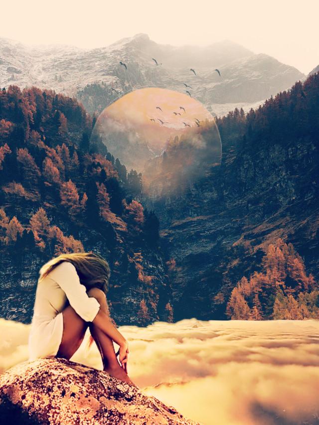 #freetoedit #fantasy #mountains #clouds #girl