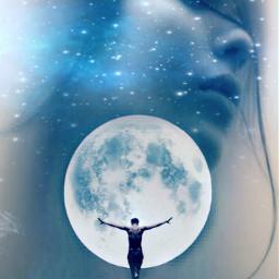 freetoedit girl moon light sky