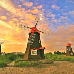 windmill sunset field beautiful southkorea