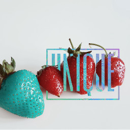 freetoedit unique strawberries red blue
