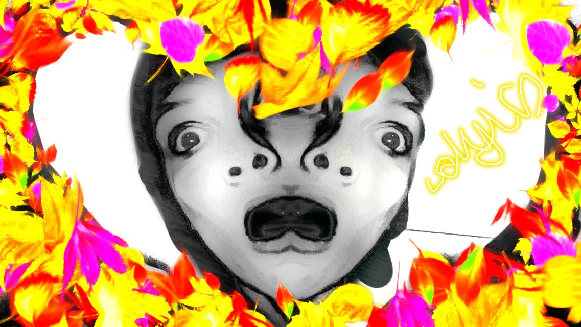 #freetoedit #newbrusheschallenge #2018 #dyi #picsart #mirrorselfie #blacknwhite #fallingleaves