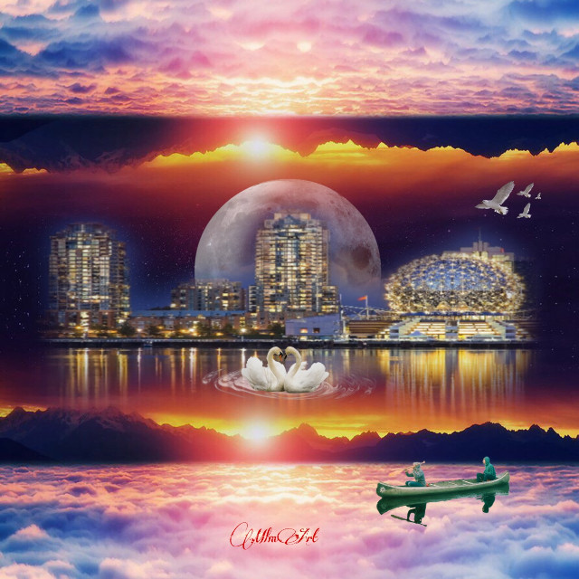 #freetoedit #surreal #fantasy #mirrorimage #cityscape #sunset #swan