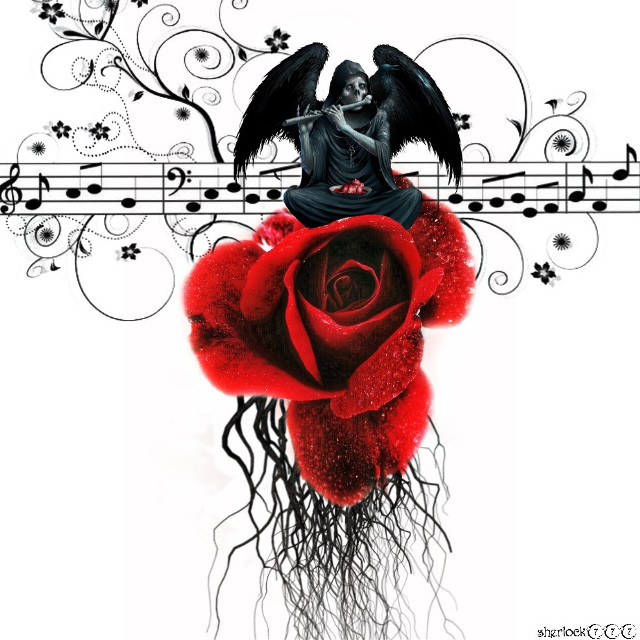 #freetoedit Dedicated to @marions- my sweet and beautiful sister ⬇️👂🏼🎼 https://youtu.be/itMd1_nxfzc  #skeleton #rose #music #flute #darkart Thank you everyone for the stickers and @sevcanss1905 for the beautiful rose fte💌