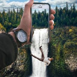man falling stream freetoedit