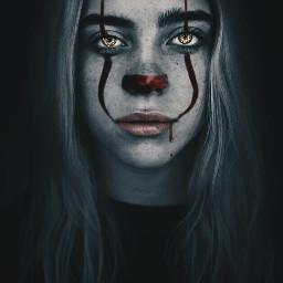 freetoedit edit picsart billieeilish it clown face dark pennywise