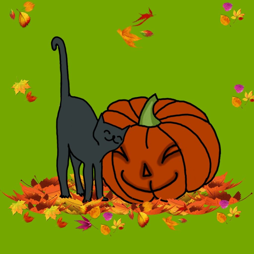 WELCOME OCTOBER 🍊🍂🍁🍃🌽 #catdoodle #autumnvibes #mydrawing (except leaves)  #freetoedit
