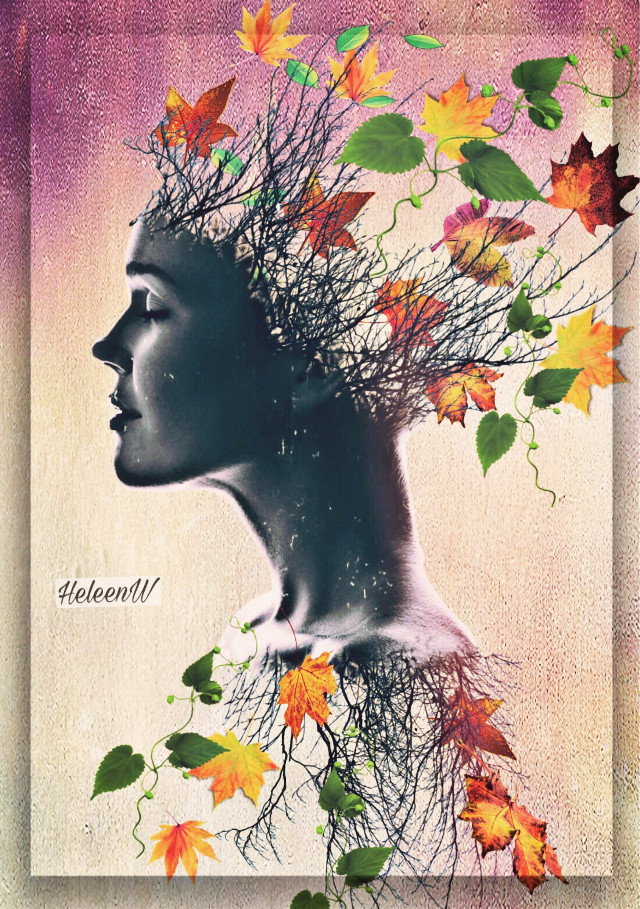 Lady autumn #lady #face #october #autumn #leaves #autumnleaves #madewirhpicsart #colored #myedit #myart #mystyle #freetoedit