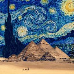 freetoedit vangogh vangoghstickerremix pyramide pyramids