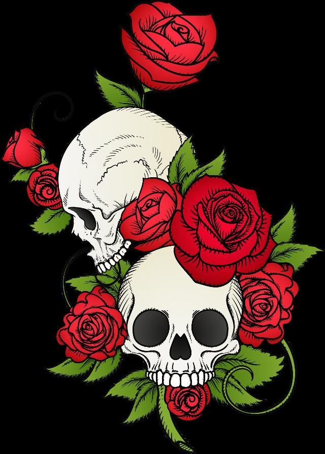 #roses #rose #skull #skulls #vinesandleaves #decor #sticker #freetoedit