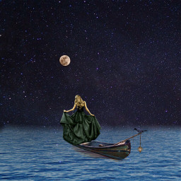 sea boat moon starsky night