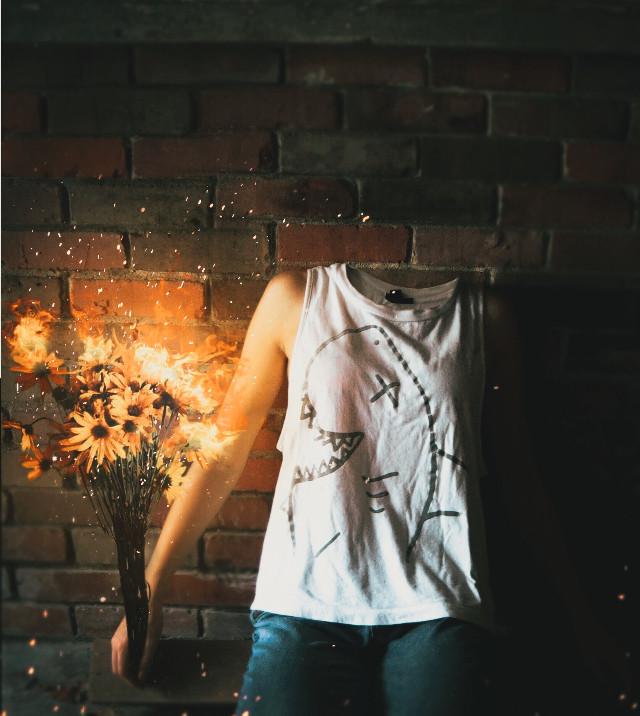 It burns deep within you 🌻🔥 #freetoedit #interesting #art #fall #photography #travel #nature #fire #flowers #burningflame  #be_creative #picsart #spooky #halloween #headless #creepyedit