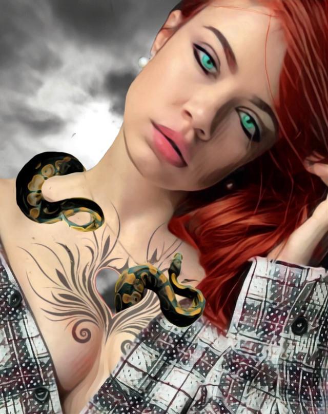 #freetoedit #heartless #tattoo #snake #redhead #greeneyes