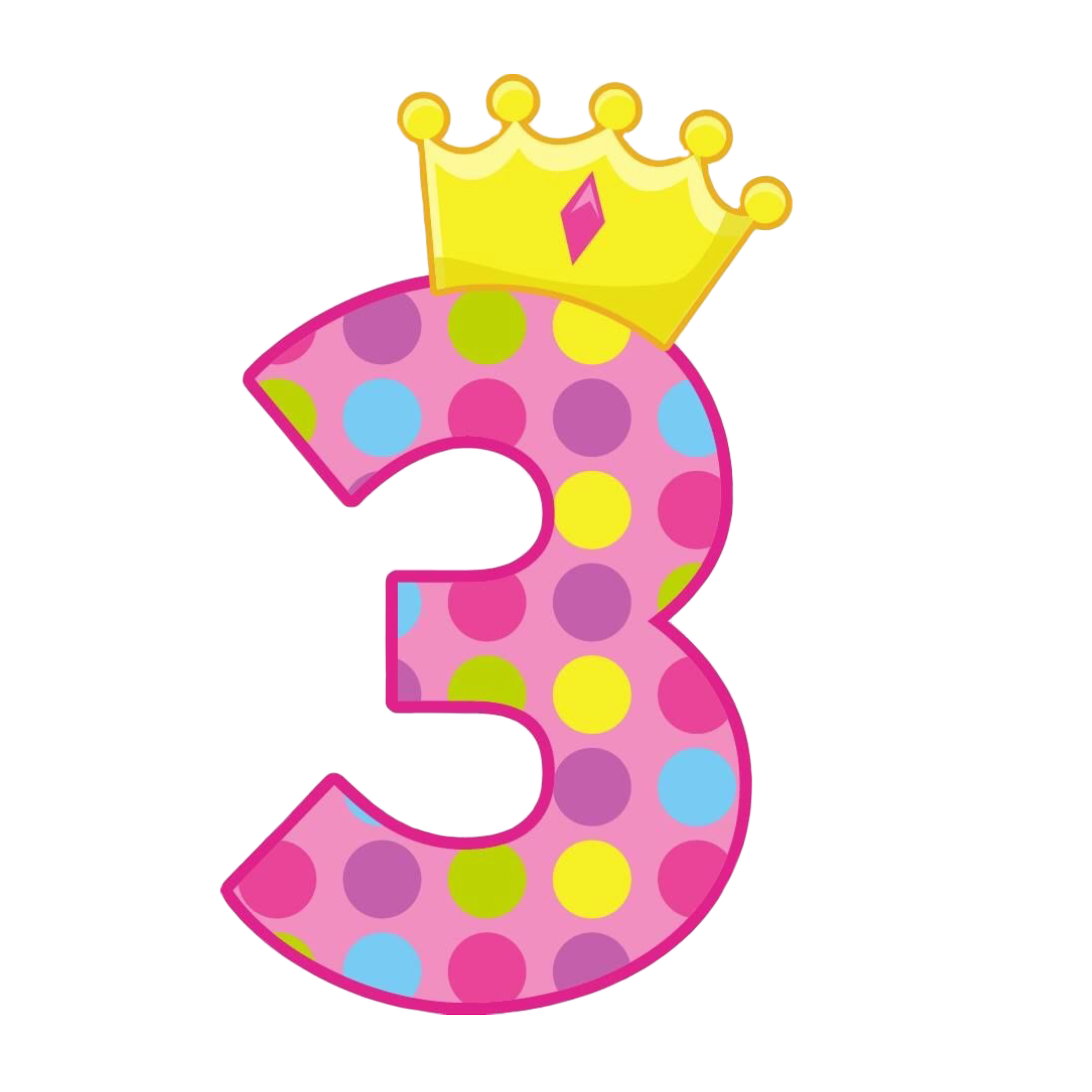 Number3 Numero3 Pink Rosa Crown Corona Yellow Amarillo