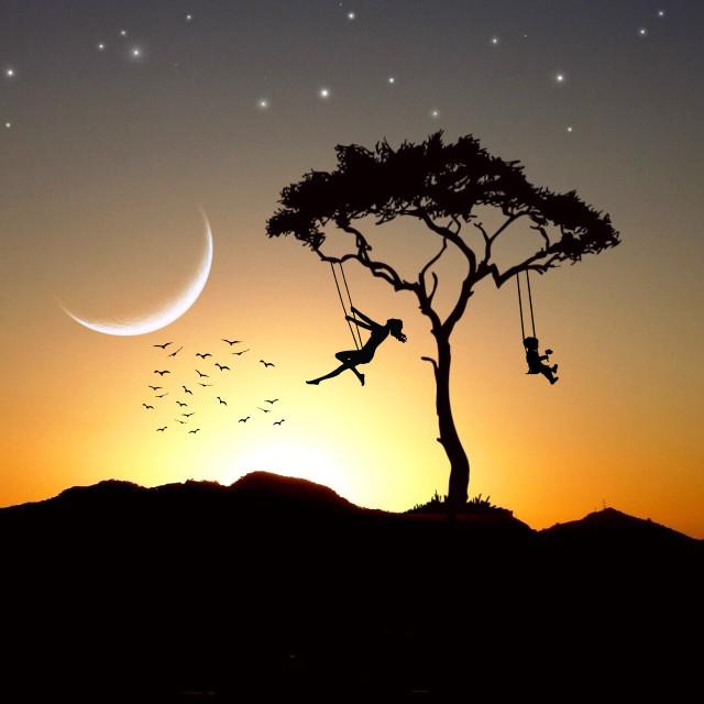 #freetoedit #silhouette #planet #moon #tree #silhouette #sunset #birds