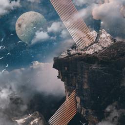 freetoedit cliff mountains moon landscape