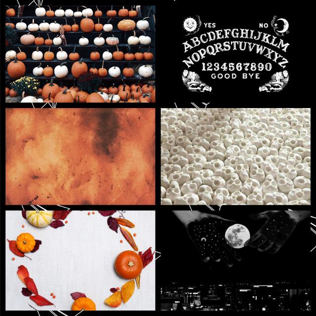 🧡spooky moodboard🧡 • • • #freetoedit #spooky #halloween #pumpkin #orange #black #white #ouijaboard #moon #night #skull