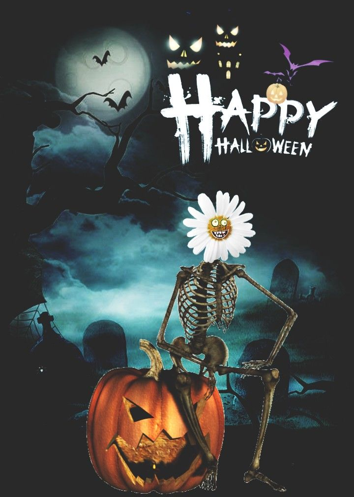 Happy Halloween 🦇 #daisy #flower #Halloween #skeleton #freetoedit