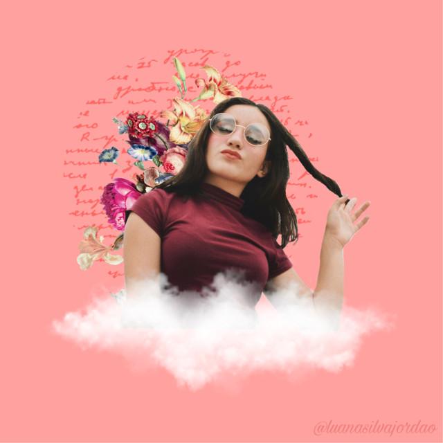 #freetoedit #flowers #clouds #girl #girly #vintage #collage #peach #peachy #cutie #cute #flying #simple