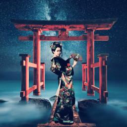 surreal geisha pagoda editedstepbystep madewithpicsart
