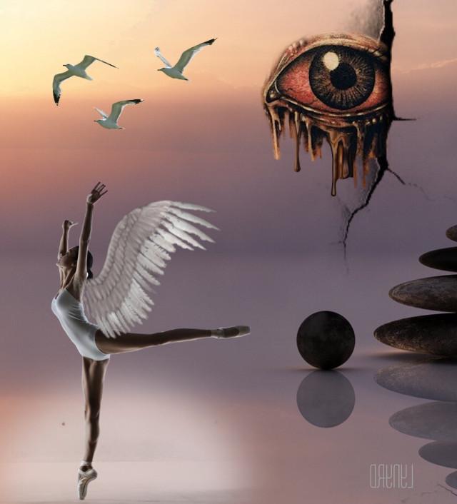 #freetoedit #ballerina #dancing #wings #eye #birds #surreal #surrealism #surrealart #myart #myedit #madewithpicsart