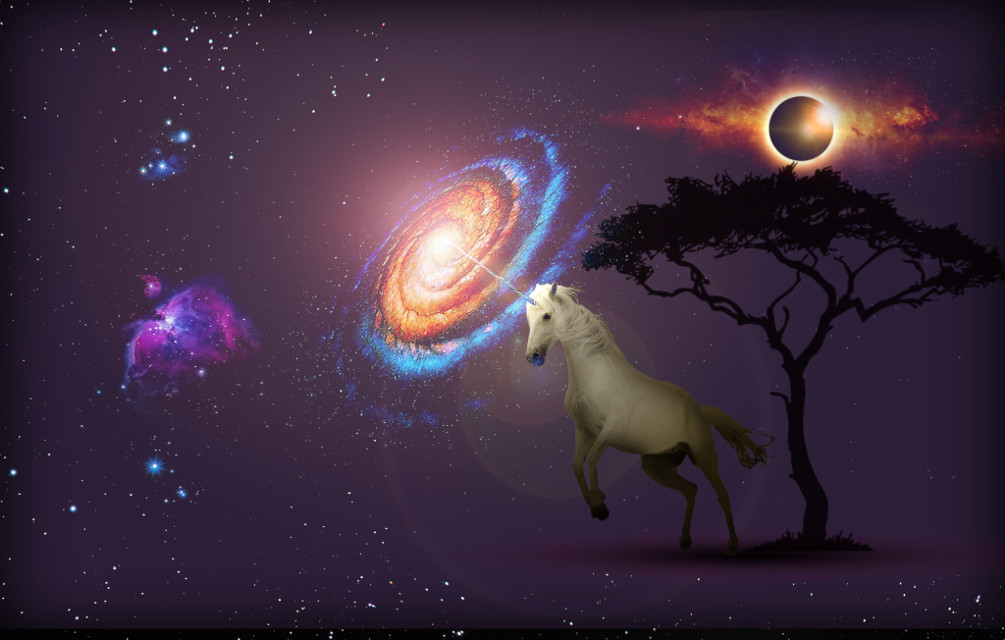 Let the universe be a part of your fantasy. #freetoedit #unicorn #nebula #planet #tree #stars #fantasy