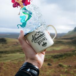freetoedit hand cup mermaid water disney ariel