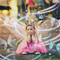 unicorn girl butterflies magicfx magic freetoedit srcunicornhorn