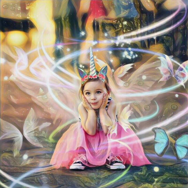 Edit by: Parietal Imagination Art  #unicorn #girl #butterflies #magicfx #magic #wings #madewithpicsart #freetoedit
