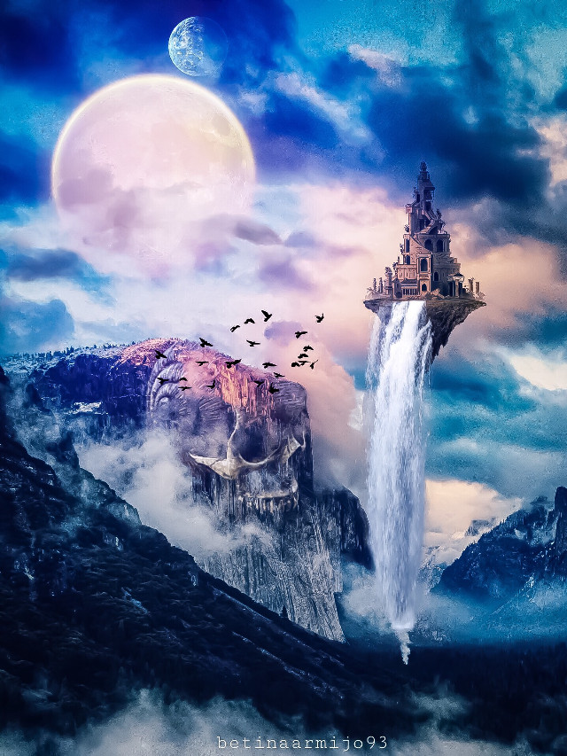 Lorik Kingdom  #interesting #art #freetoedit #nature #kingdom #skull #clouds #birds #waterfall #planets