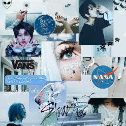 freetoedit straykids blue wallpaper aesthetic