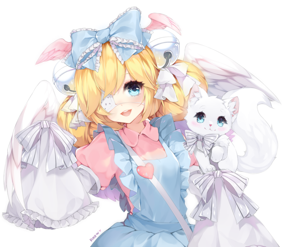 Anime Cat With Wings anime animegirl eyepatch wings cat