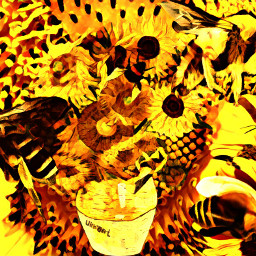 freetoedit sunflower honeybee van srcfineartfriday