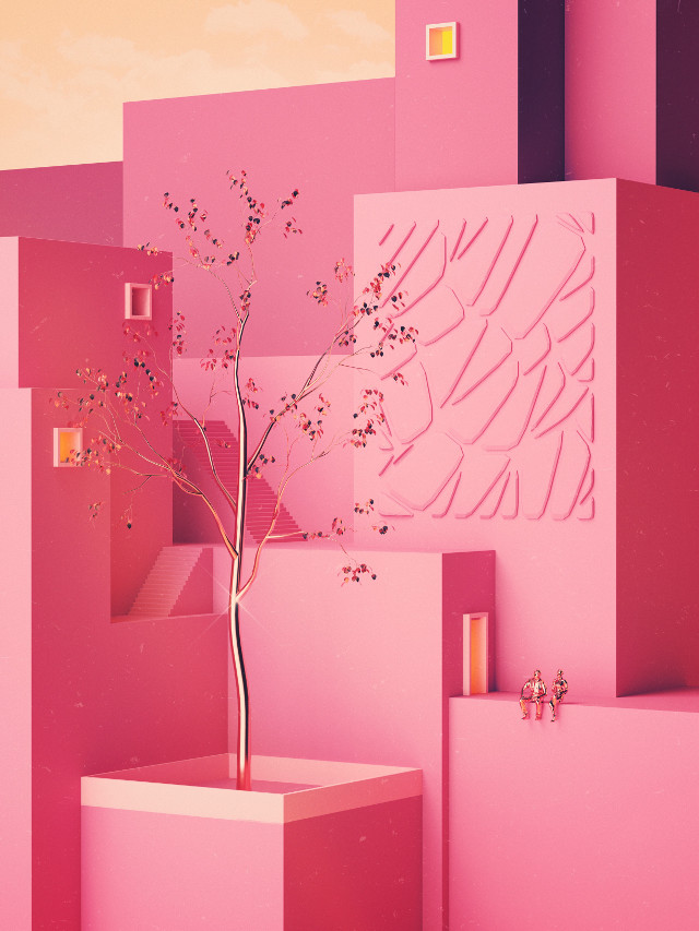 Tree of Life. | www.shorsh.com #art by Shørsh #pink #gold #tree #sculpture #architecture #surreal #scifi #3D