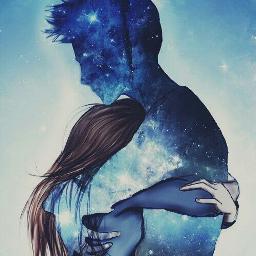 freetoedit love couple stars galaxy