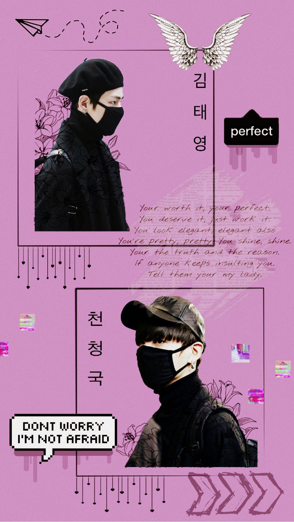 Vkook Taekook Bts Wallpaper Ship Pink Purple Aesthetic